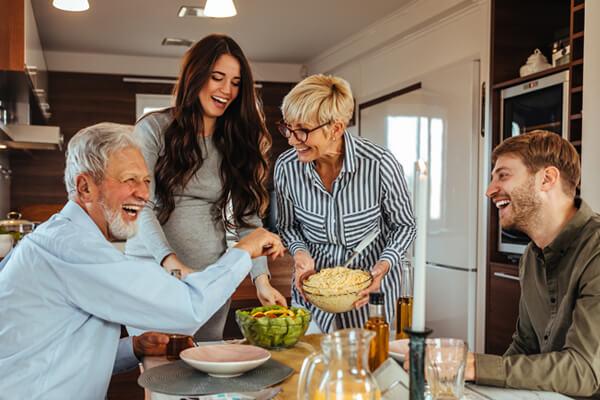 Family of four having dinner